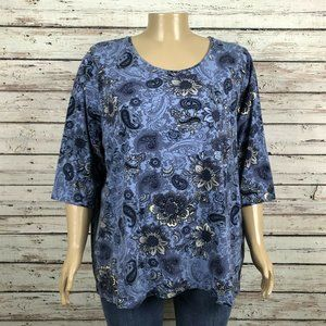 Catherines Blue Floral Paisley Print T-shirt Top